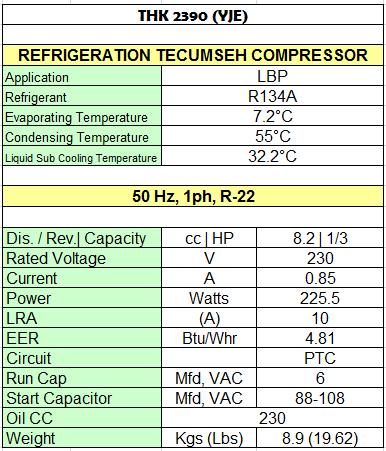 Compressor Tecumseh India Thk 2390 Y Toko Pusat Unit